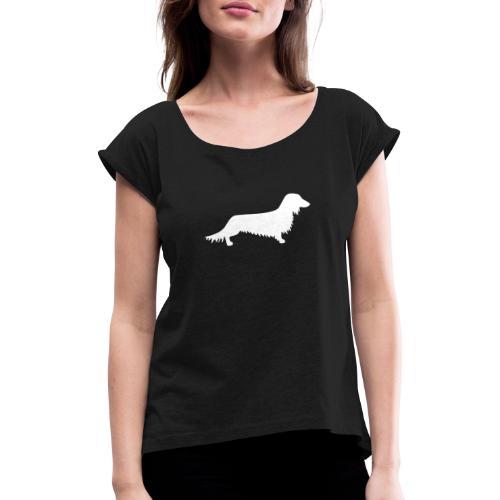 Langhaardackel - Frauen T-Shirt mit gerollten Ärmeln