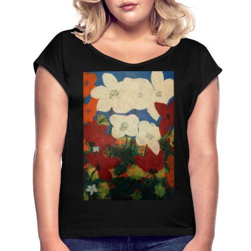 Blumen - Frauen T-Shirt mit gerollten Ärmeln