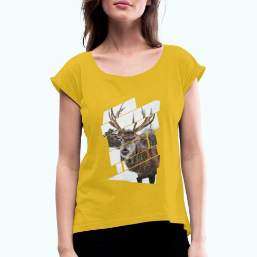 Hipster reindeer - Women's T-Shirt with rolled up sleeves