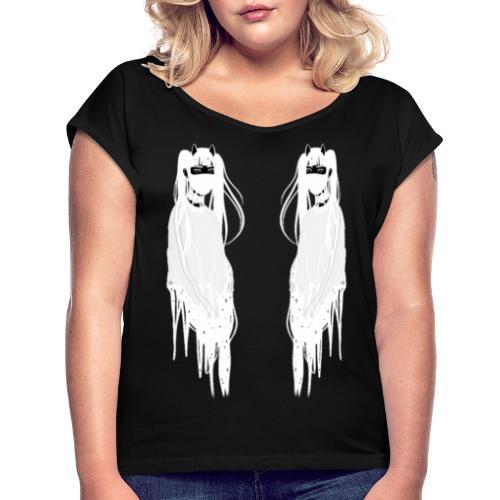 Face To Face (white) - T-shirt à manches retroussées Femme
