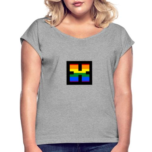 XRhodes Pride Logo 2019 - Women's T-Shirt with rolled up sleeves