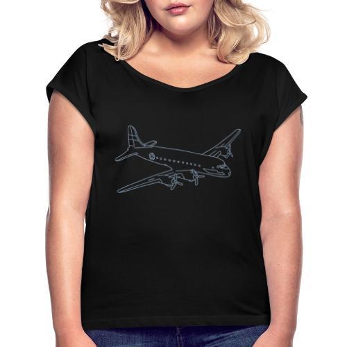 Flugzeug - Frauen T-Shirt mit gerollten Ärmeln