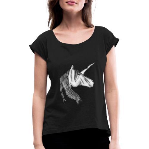 Enhörning - T-shirt med upprullade ärmar dam