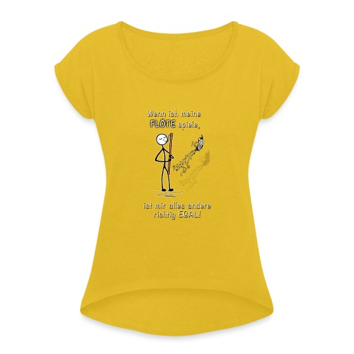 Recorder Love f. dark colours - Women's T-Shirt with rolled up sleeves