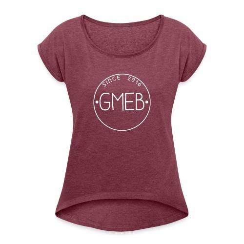 doorschijnend LOGO WIT - Vrouwen T-shirt met opgerolde mouwen