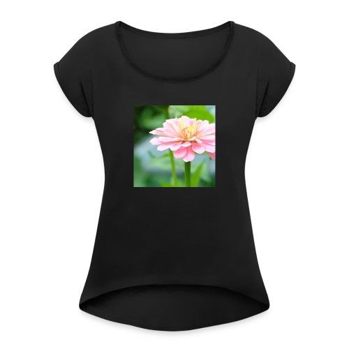 Mooi leuk simpel t-shirt - Vrouwen T-shirt met opgerolde mouwen