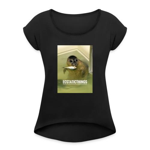 EcstaticThings HarpSeal - Frauen T-Shirt mit gerollten Ärmeln
