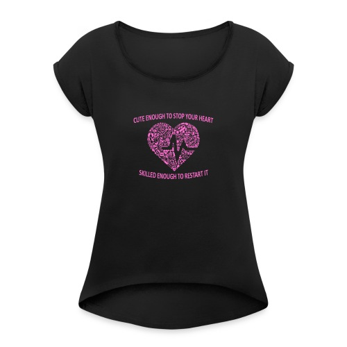 Søt kopp - T-skjorte med rulleermer for kvinner