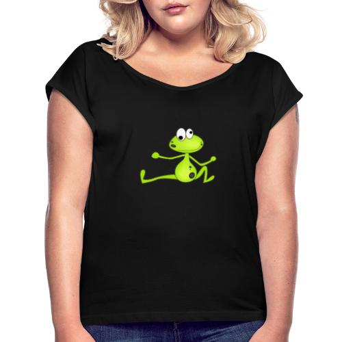Lustiger Frosch - Frauen T-Shirt mit gerollten Ärmeln