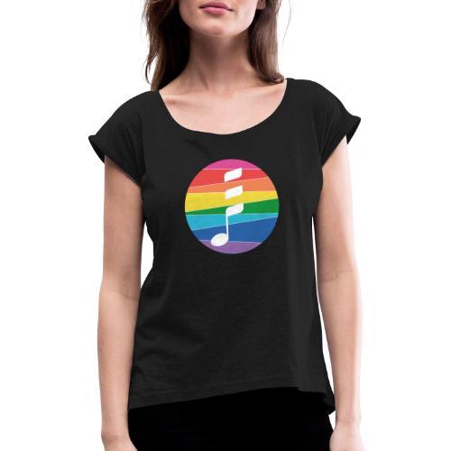 Rainbow Note - Frauen T-Shirt mit gerollten Ärmeln