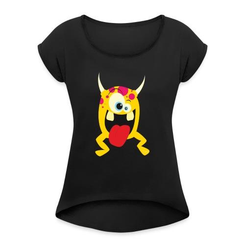 Monster Yellow - Vrouwen T-shirt met opgerolde mouwen