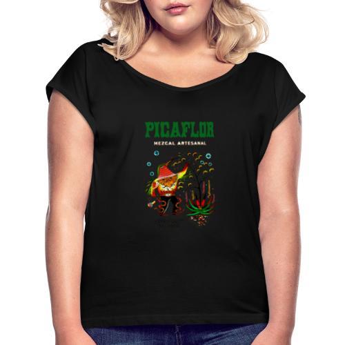 PicaflorGreen - T-skjorte med rulleermer for kvinner