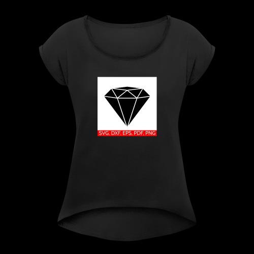 bling bling - Frauen T-Shirt mit gerollten Ärmeln