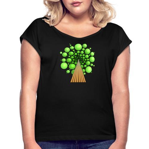 Kugel-Baum, 3d, hellgrün - Frauen T-Shirt mit gerollten Ärmeln