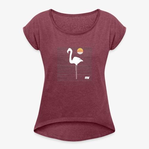 fenicottero righe f - Maglietta da donna con risvolti
