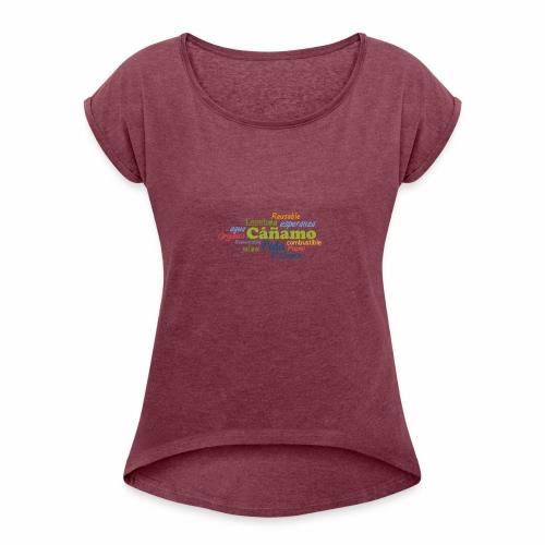 Cáñamo Sustentable - Camiseta con manga enrollada mujer