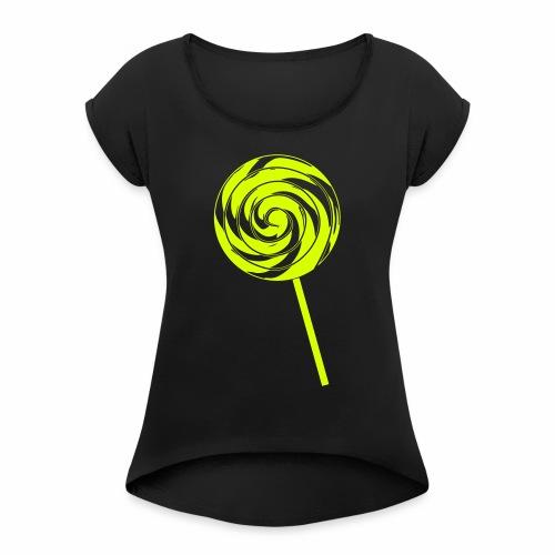 Retro Lolly - Frauen T-Shirt mit gerollten Ärmeln