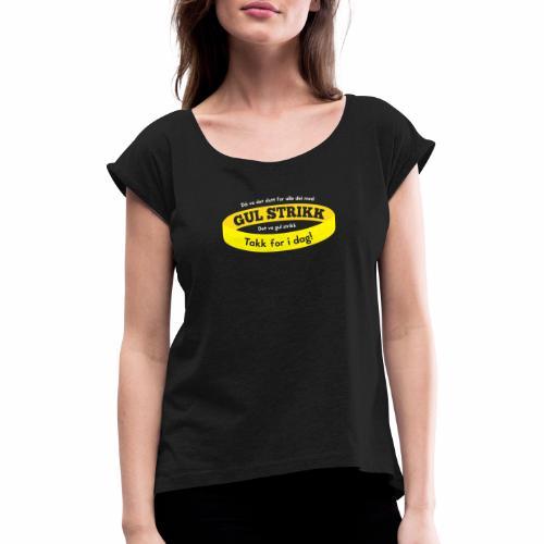 Gul strikk - T-skjorte med rulleermer for kvinner