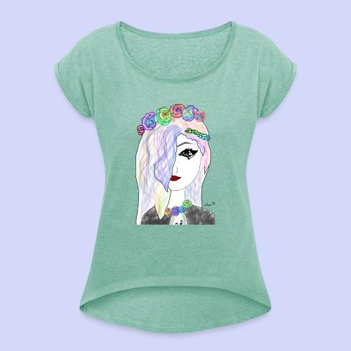 Rainbow flower girl - Female shirt - Dame T-shirt med rulleærmer