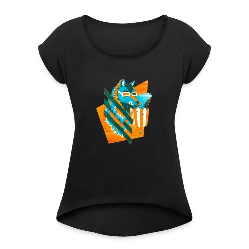 popcornwolf_logo_merch-0 - Vrouwen T-shirt met opgerolde mouwen