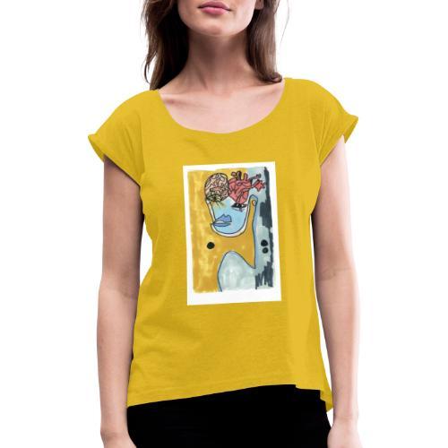 Corazo y cerebro - Camiseta con manga enrollada mujer