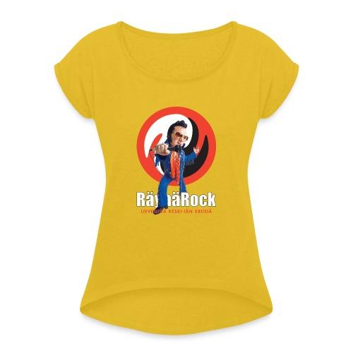 Räyhärock musta - Naisten T-paita, jossa rullatut hihat