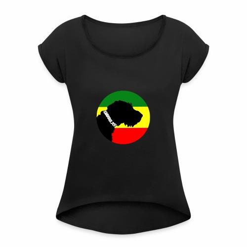 Knabber.Dog (Kreis) - Frauen T-Shirt mit gerollten Ärmeln