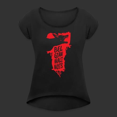 Belgian Malinois HEAD - Naisten T-paita, jossa rullatut hihat