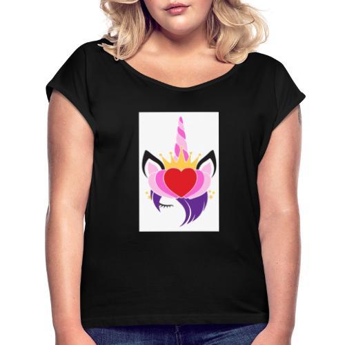 01728EC7 E6B0 4778 BAA6 924930A86C55 - Frauen T-Shirt mit gerollten Ärmeln