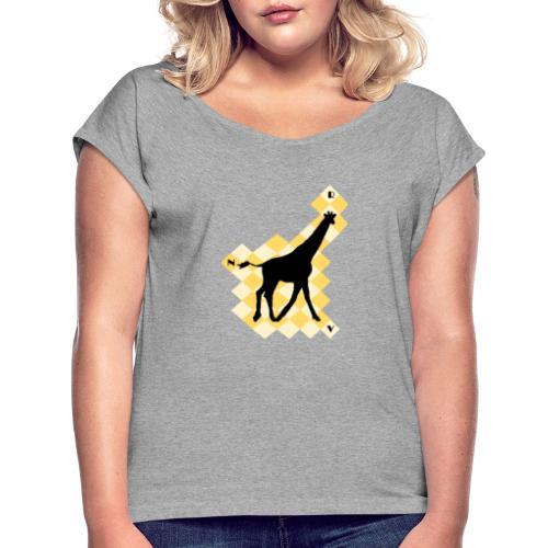 GiraffeSquare - Naisten T-paita, jossa rullatut hihat