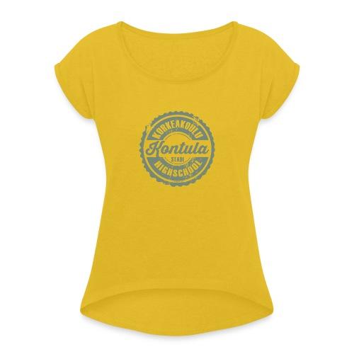 06V-KONTULAN KORKEAKOULU - Tekstiilit ja lahjat - Naisten T-paita, jossa rullatut hihat