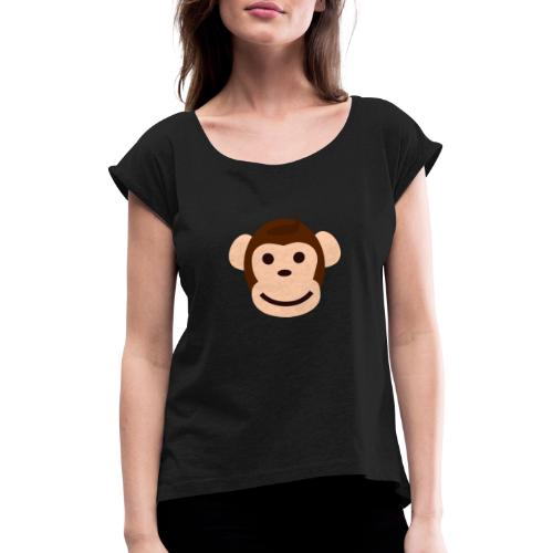 Happy Monkey - Frauen T-Shirt mit gerollten Ärmeln