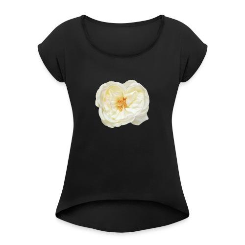 Weiße Rose Blume Blüte - Frauen T-Shirt mit gerollten Ärmeln