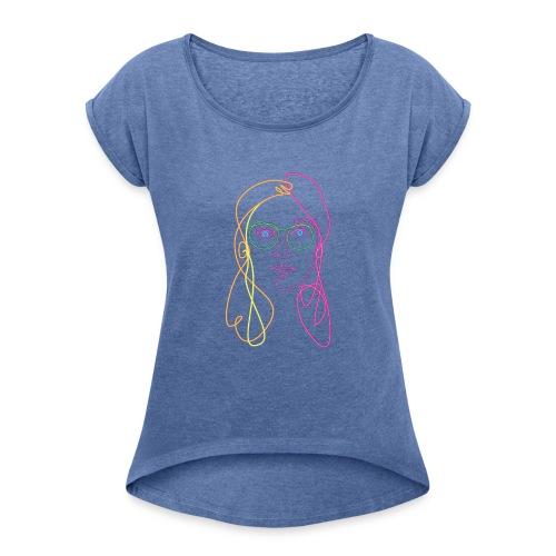 elissa line - Vrouwen T-shirt met opgerolde mouwen