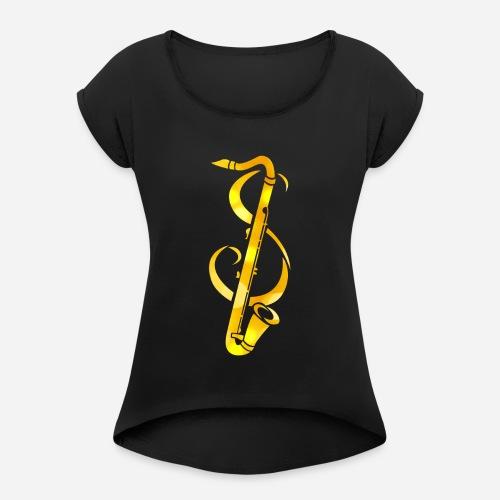 Goldenes Saxophone mit Notenschlüssel - Frauen T-Shirt mit gerollten Ärmeln