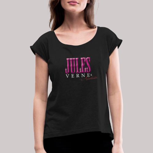Jules pink weiss - Frauen T-Shirt mit gerollten Ärmeln