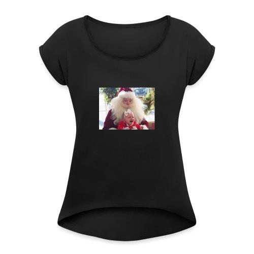 Santa claus raping kids - T-skjorte med rulleermer for kvinner