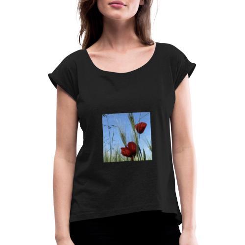 Mohnblume - Frauen T-Shirt mit gerollten Ärmeln