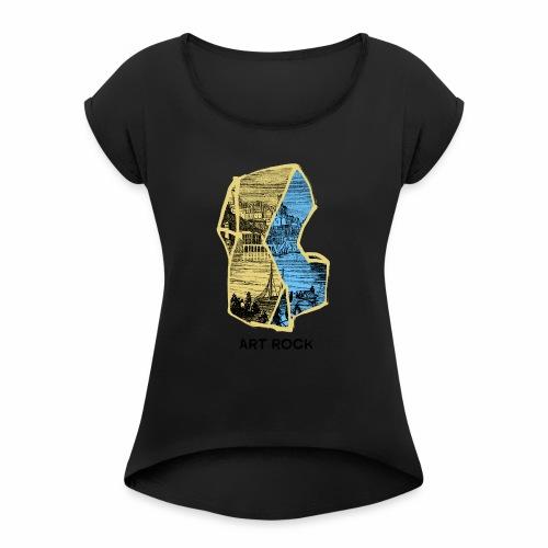 ART ROCK No 4 colour - Vrouwen T-shirt met opgerolde mouwen