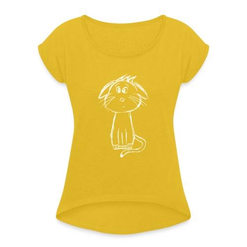 Kissa Kissanpentu valkoinen scribblesirii - Naisten T-paita, jossa rullatut hihat