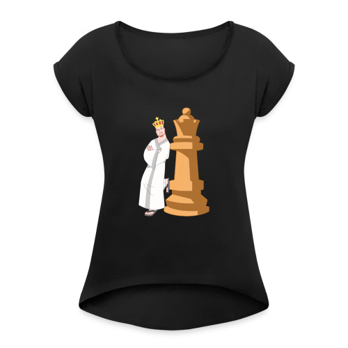 Samurai with Queen - Women's T-Shirt with rolled up sleeves