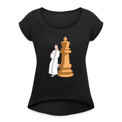 Samurai with King - Women's T-Shirt with rolled up sleeves