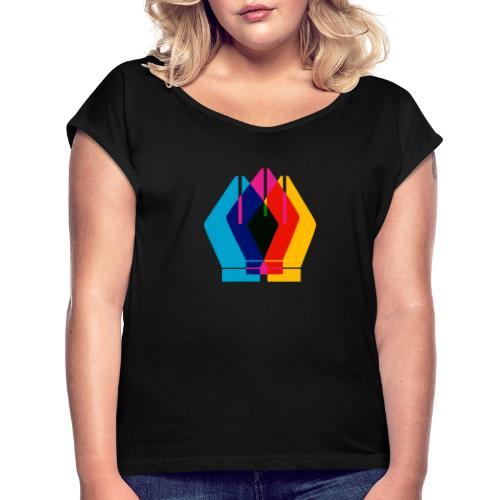 Design - Koszulka damska z lekko podwiniętymi rękawami