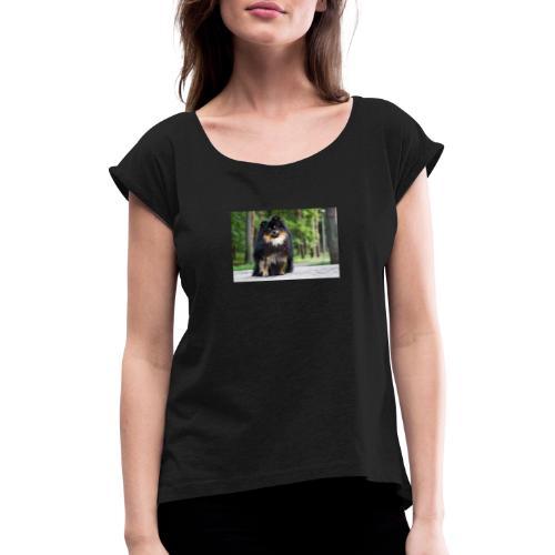zwergspitz - Frauen T-Shirt mit gerollten Ärmeln