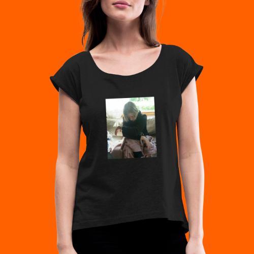 KönniRoope - Naisten T-paita, jossa rullatut hihat