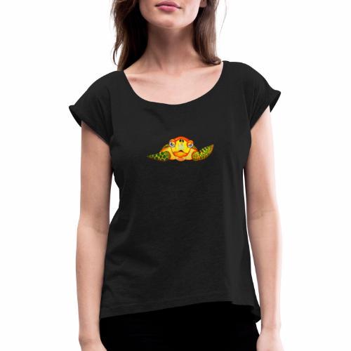 Boze Turtle Fluo - Vrouwen T-shirt met opgerolde mouwen