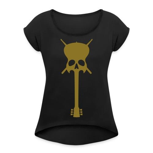 Guitar-Skull - Frauen T-Shirt mit gerollten Ärmeln