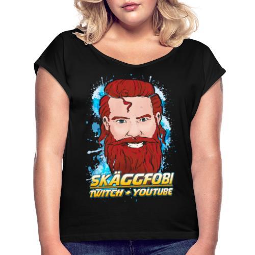 Skäggfobi Ansikte - T-shirt med upprullade ärmar dam