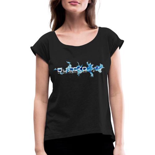 logo wave bleu fond noir - T-shirt à manches retroussées Femme