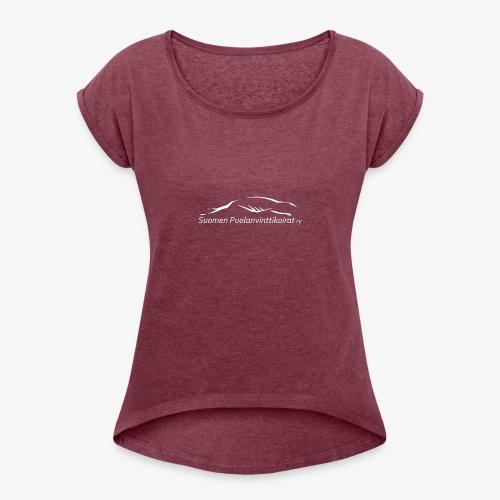 SUP logo valkea - Naisten T-paita, jossa rullatut hihat